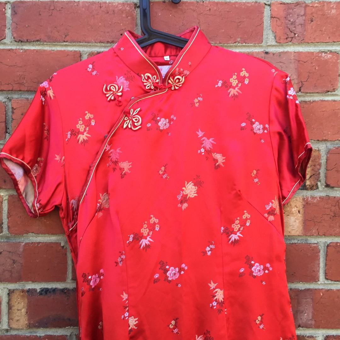 RED CHEONGSAM / QIPAO MAXI DRESS