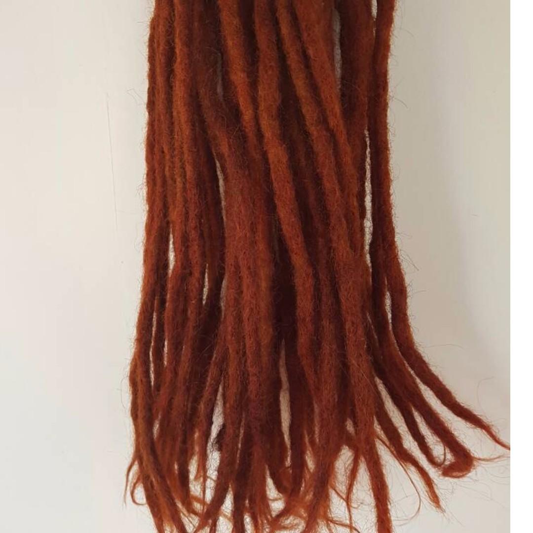 Red Fat Dreadlocks extension 100% Human hair
