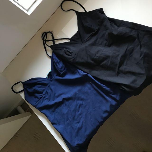 Set Of Kookai Singlets Black And Navy Blue