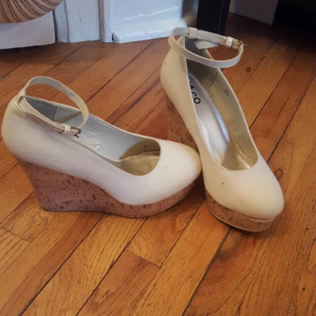 Size 9 Nude Wedge Heels