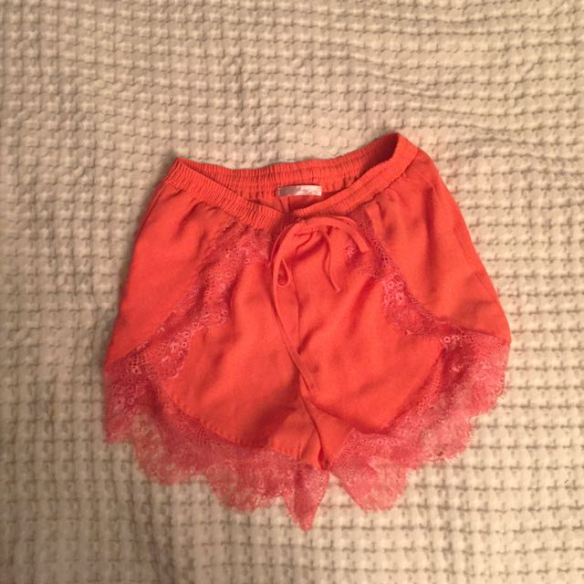 Sophia Orange High waisted Shorts