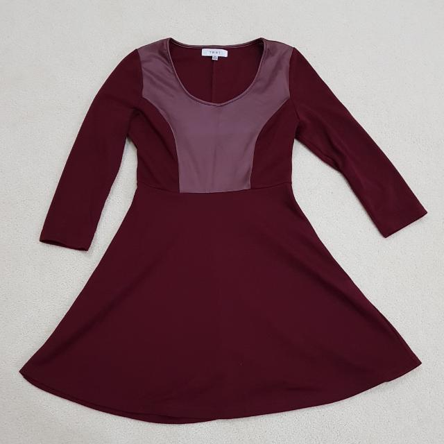 TEMT Maroon A-Line Dress