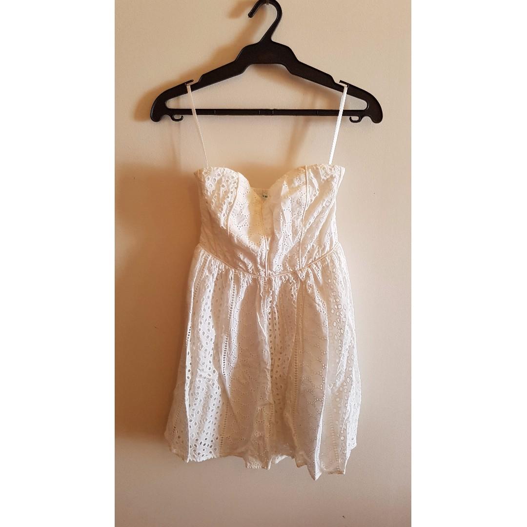 White Eyelet Tube Dress