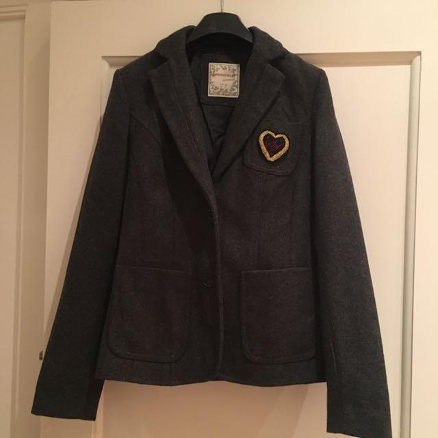 Wool Grey Jacket Blazer Size 8