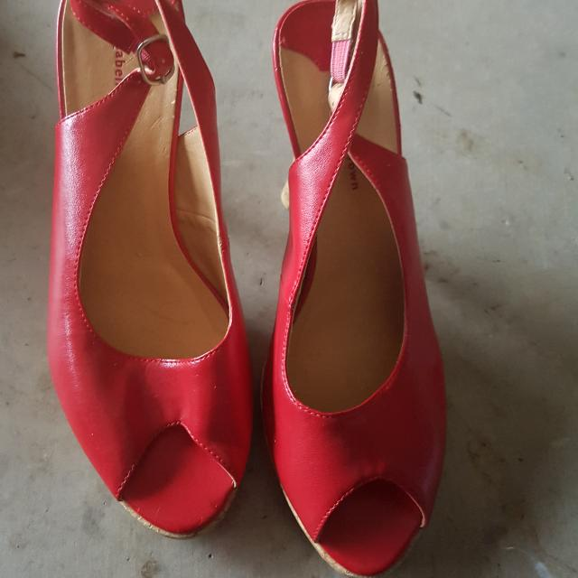 Worn Twice Red Wedges Heels Size 6