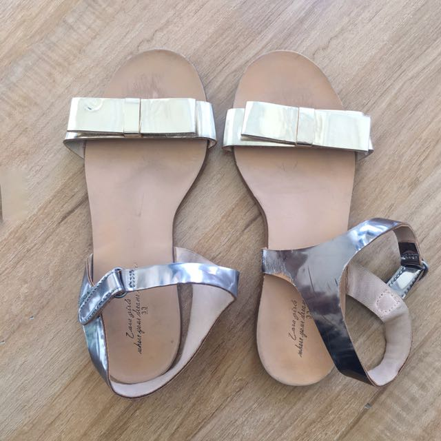 Zara Girls Metallic Sandals