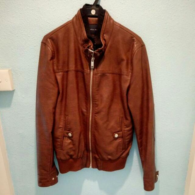 Zara Man Collection Brown Leather Jacket Men S Fashion Clothes On