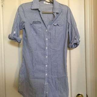 F21 Pinstripe Button Up Shirt/Dress