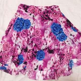 Flowery Skirt With Mini Short