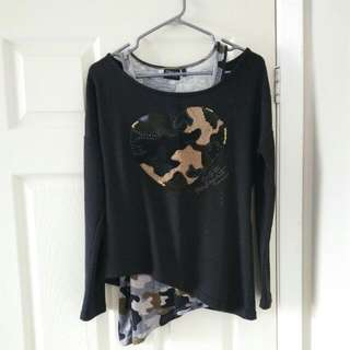 ONLY Double Layer Camoflauge Top