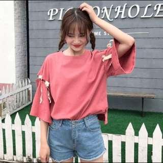韓國直購喇叭袖顯瘦百搭綁帶造型上衣