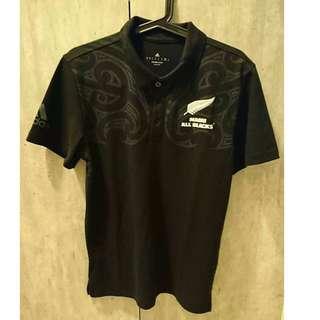 全新ADIDAS ALL BLACKS 紐西蘭全黑橄欖球隊Polo衫M號,NT$900元
