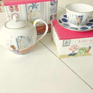 Kate Spade Tea Pot With Cup & Saucer