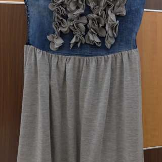 Grey-Navy Ruffle Maxi Skirt Cotton Stretch (Size M)