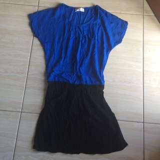 Mini Dress Biru Hitam