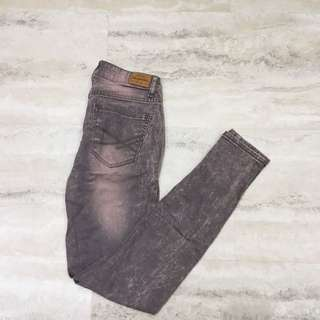 High Rise Pink And Grey Bleached Jeans