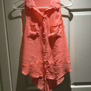 Neon Orange High Low Shirt