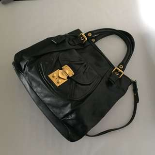 Miu Miu Lux Metal Black Leather Tote Bag