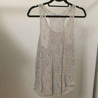 Wilfred Light Grey Lace Tankfop