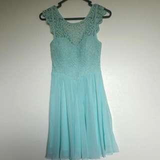 Light Blue Lace Flare Dress