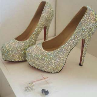 Crystallised Dollywood Heels - Size 39/8