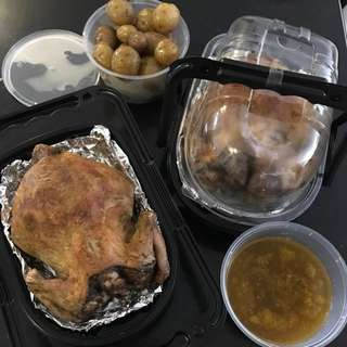 Baked Chicken With Baby Potatoes And Pan Drippings On The Side