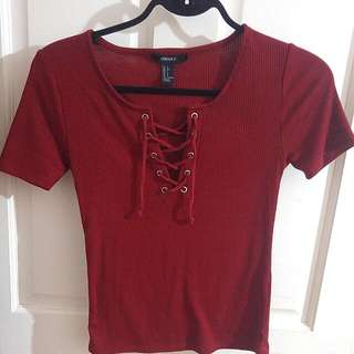 Maroon Lace-up Shirt