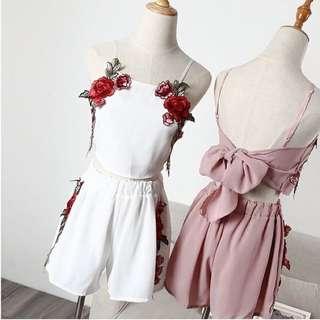 刺繡玫瑰後綁帶套裝