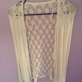 White Cardigan with mesh design on back