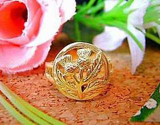 Celtic Thistle shamrock Ring Jewelry Irish Gold vermeil Size 12