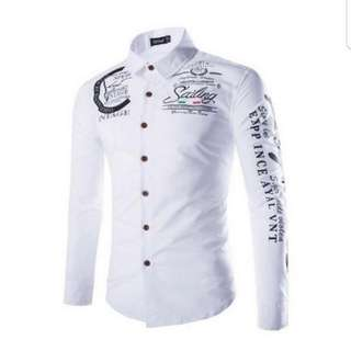 Geek new autumn and winter men's shirt printing casual long sleeve