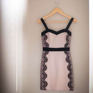 XS Dynamite Blush Dress with Black Lace