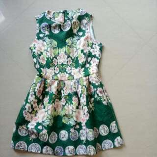 dress jacq motif bunga n porcelain