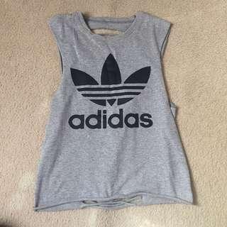 Distressed Grey Adidas Top