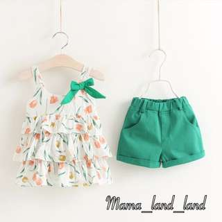 Summer Floral Print Vest + Woven Short @Set