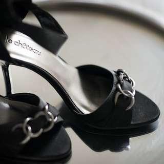 🔥Price Drop! Black Satin Heels