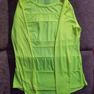 Danskin Performance Drimore Long Sleeve Tee - neon yellow - US size M