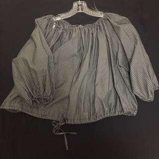 Striped-off-the-Shoulder Shirt