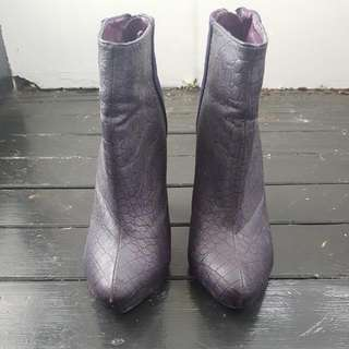 Purple Suede/Reptile Texture High Ankle Boots s7