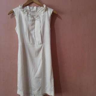 White Satin Dress - Small