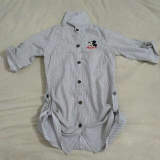 Mickey Mouse White Stripes Shirt Kemeja Putih