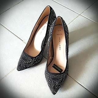 New look Silver Studded Black Court Shoes