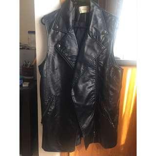 Long PU Leather Biker Vest
