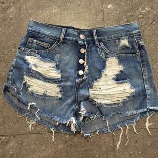 Denim Button Shorts