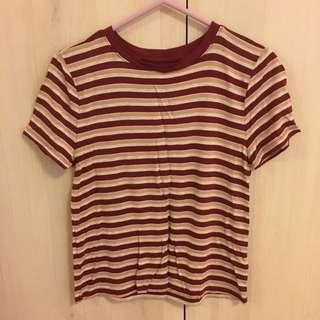 美國品牌-條紋短版短袖上衣