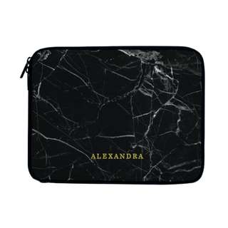 Personalized Laptop Case Sleeve Bag Black Marble Pattern