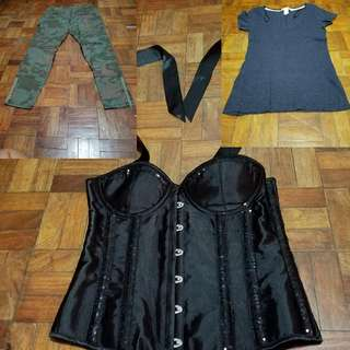 TAKE ALL! Old Navy Cargo Pants (Used) Corset (New) L.O.G.G. By H&M Top (Used)