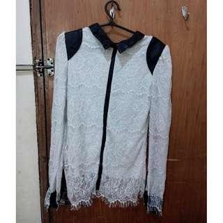 Korean inspired Lace zip-up long sleeves top
