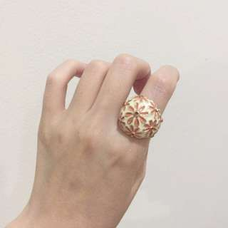 Forever New Orange Flowery Ring