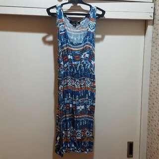 Forever21 Blue Aztec Print Sleeveless Dress